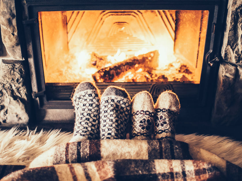 Cozy Feet By A Fireplace