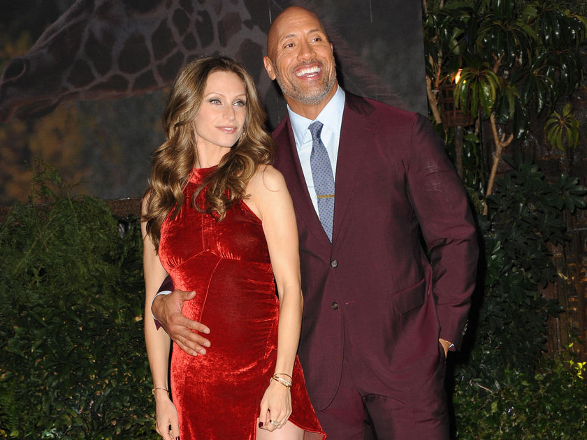 Dwayne Johnson and Lauren Hashian Red Dress Jumanji Premiere