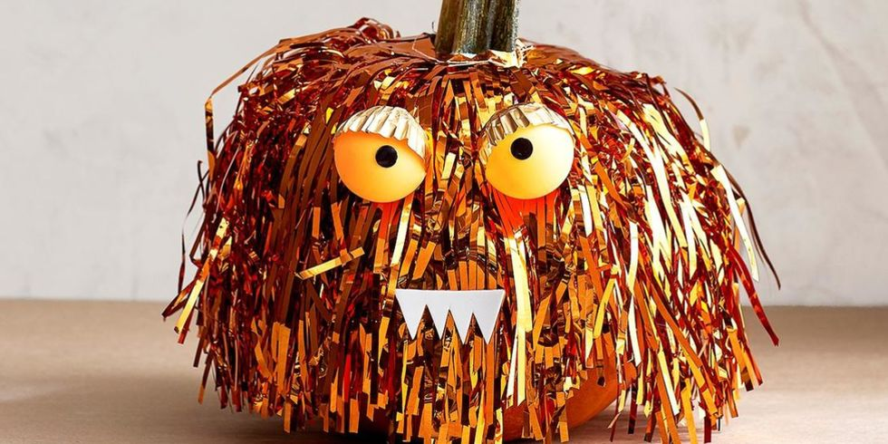 No Carve Pumpkin Tinsel Monster