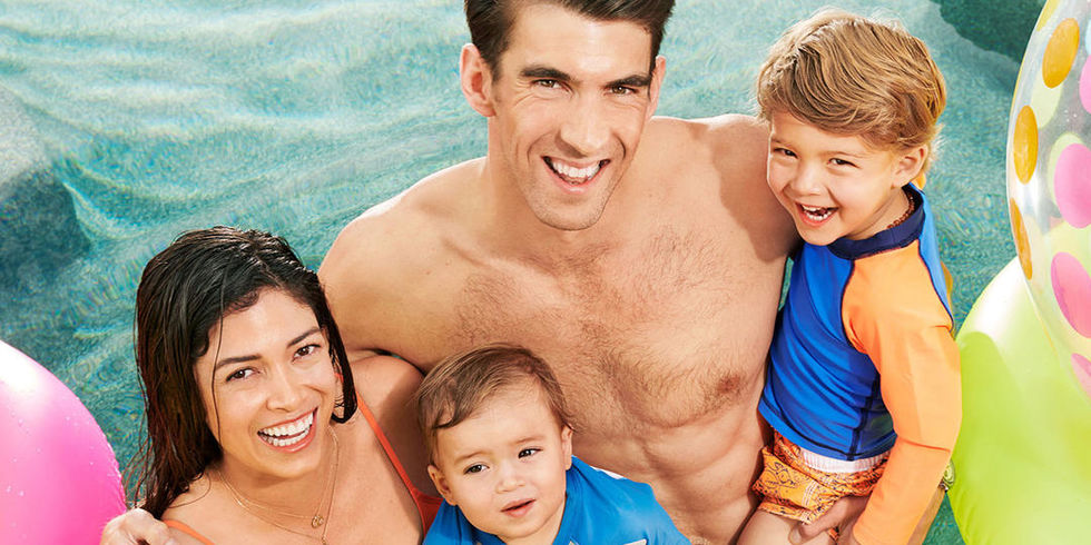 Phelps Family Photo in Pool