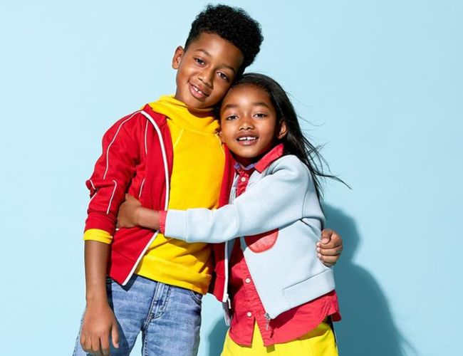 African American Boy and Girl Hugging Brother Sister