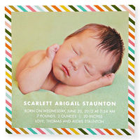 Candy-striped birth announcement