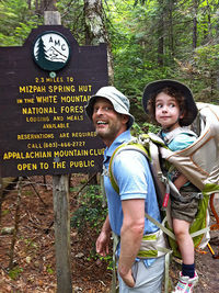 father on hike with son