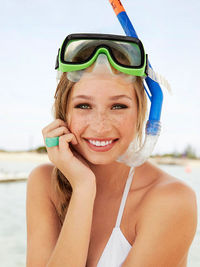 Woman with snorkel mask