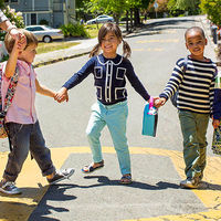 school kids crossing street