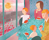 Family At Dinner Table Illustration