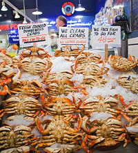 Pike Place Market crabs on p. 73