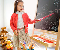 Girl with a chalkboard