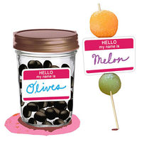 olive jar and melon skewer