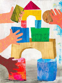 Illo of building blocks with three hands building