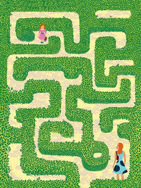 Women and child in maze