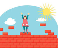 girl with hands up on top of a red brick wall, sun in upper right corner
