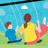 woman and child on swings