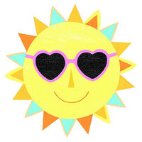 Yellow sun with heart sunglasses on