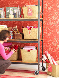 woman organizing shelves