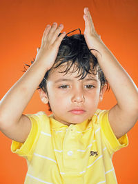 Boy with wet hair
