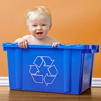 baby in recycling bin