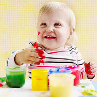 Baby with finger paint