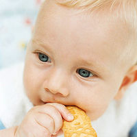 baby eating cracker