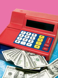 Cash register with money
