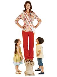 Imperfect Mom on pedestal with her two chilldren