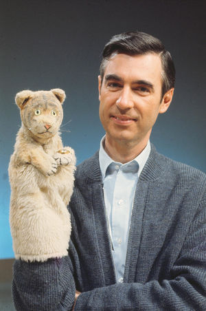 Fred Rogers with Daniel Tiger