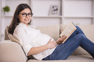 pregnant woman wearing glasses