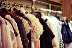 rack of fashionable clothes