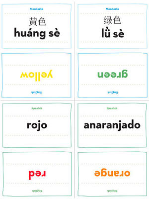 Printable Mandarin Chinese And Spanish Flash Cards