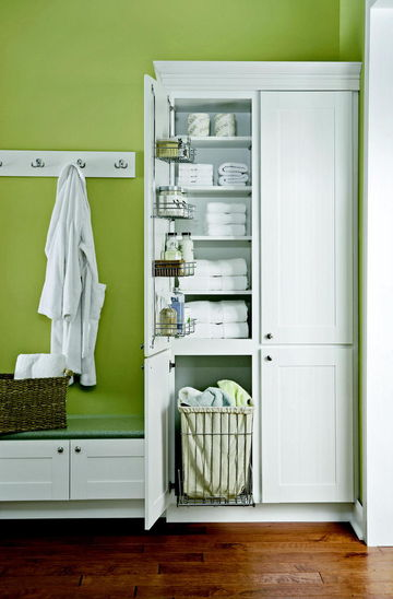 Diamond Vanity Closet with Green Wall Background