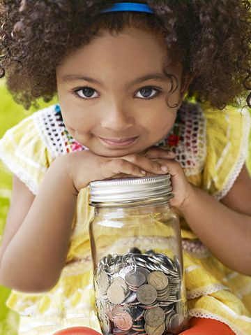 Kids Finance Girl Holding Coin Jar