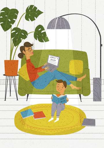 Cartoon of Mom and Son Reading