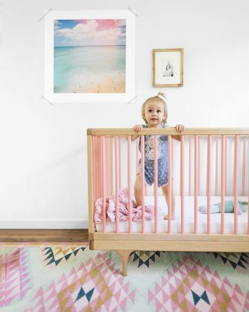 Rosy Crib with Ikat Rug