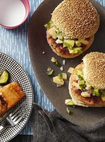 Teriyaki Salmon Cakes With Avocado-Pineapple Relish
