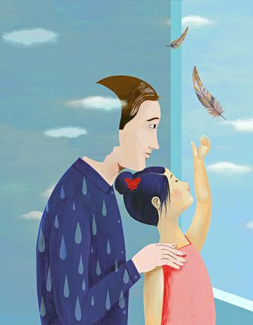 cartoon of dad and daughter with feather flying away