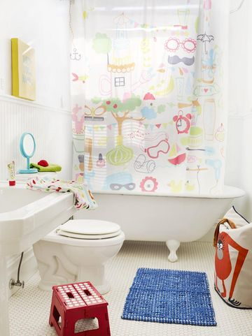 colorful curtains for kid bathroom