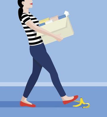 Illustrated Mom Stepping on Banana Peel