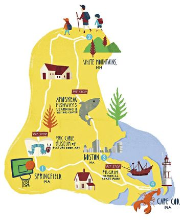 New England Charm Illustrated Map