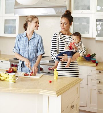 Two Moms in Kitchen