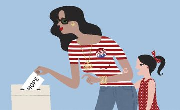 Illustration of Latina Mom Voting in Election
