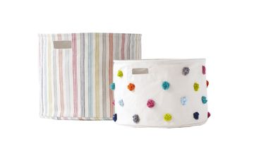Pehr Designs Canvas Drums Colorful Stripes and Pom Poms