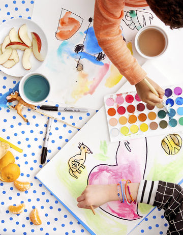 Decor Ideas Children Painting Watercolors On Polka Dot Table