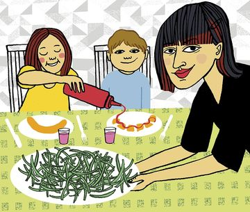 Not Guilty About Not Feeling Guilty Mother Serving Dinner Illustration