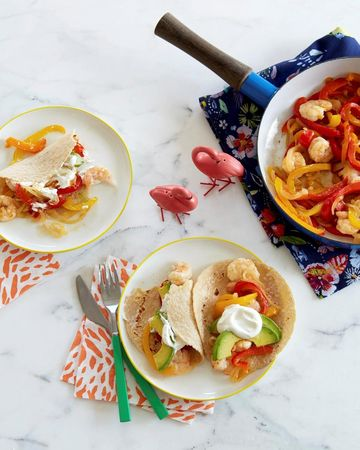 Shrimp and Bell Pepper Fajitas