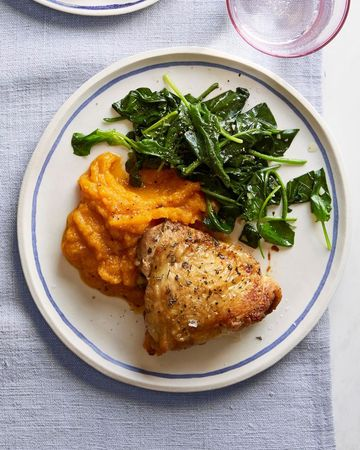 Rosemary-Roasted Chicken With Butternut Squash and Spinach
