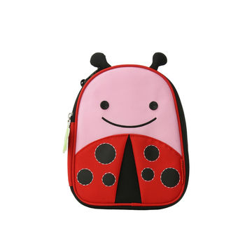 Red and pink ladybug lunch box