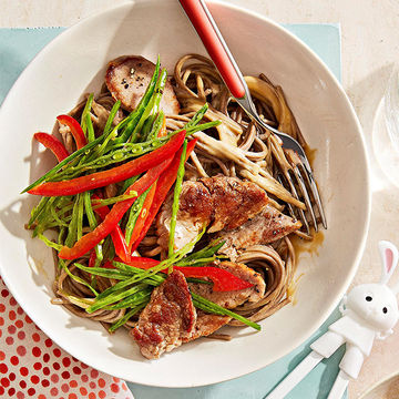 Sesame Pork Soba with Snow Pea Slaw