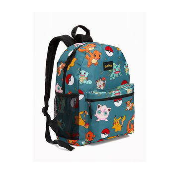 Teal backpack with Pokemon graphics