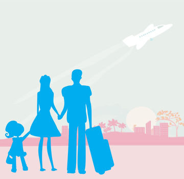Illustration of family traveling