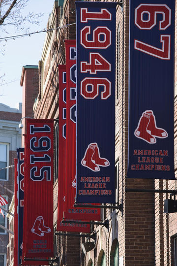 USA, Massachusetts, Boston, Fenway Park, Baseball team banners